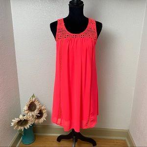 Bright Coral Babydoll Dress - Medium - Knitted